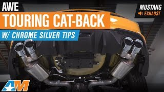 2018 Mustang GT Fastback AWE Touring Cat-Back w/ Chrome Silver Tips Exhaust Sound Clip & Install