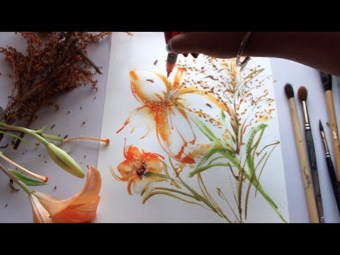 Orange Lily Abstract Painting | Watercolor Painting Tutorial