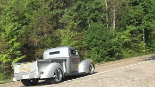 1940 Ford Hot Rod Pickup Truck Pro Street Custom Texas Cruiser in Arkansas Car Show Mountain Run!