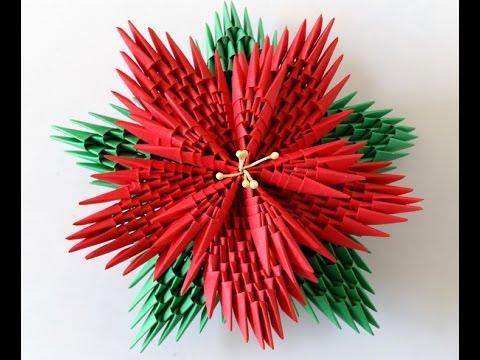 3d Origami Poinsettia Youtube