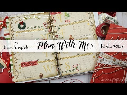 """Vintage Christmas: Week 50-2017 / Plan With Me """"From Scratch"""" A5 DCWV 6 Ring Planner Binder"""
