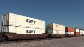 BNSF 7838/BNSF 7481/BNSF 8202 W/B stack train Afton Oklahoma.