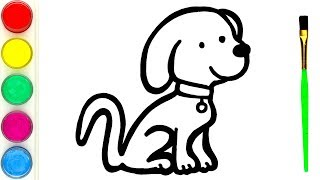 How to Draw a Cute Puppy for kids   Simple animals drawing and painting for children