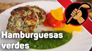 Hamburguesas verdes - Зелёные куриные котлеты с зелёным соусом Индейка