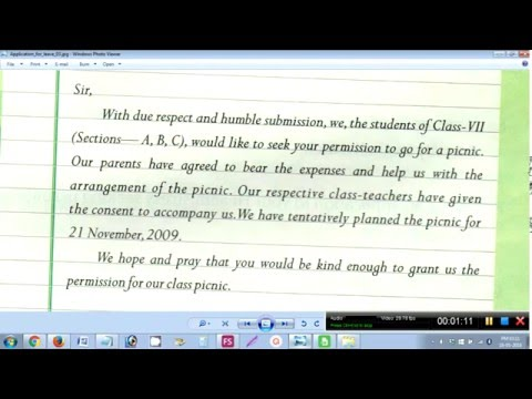 How to write an application to the principal for picnic - YouTube