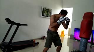 Heavy bob bag boxing combination and stamina morning daily training