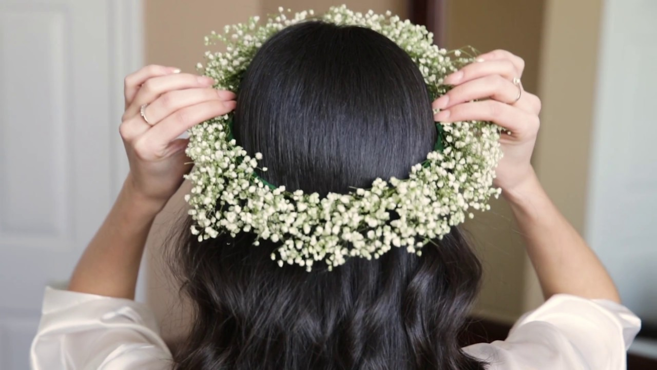 DIY Baby's Breath Flower Crown - YouTube