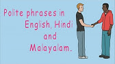 Useful English, Hindi and malayalam words for speaking