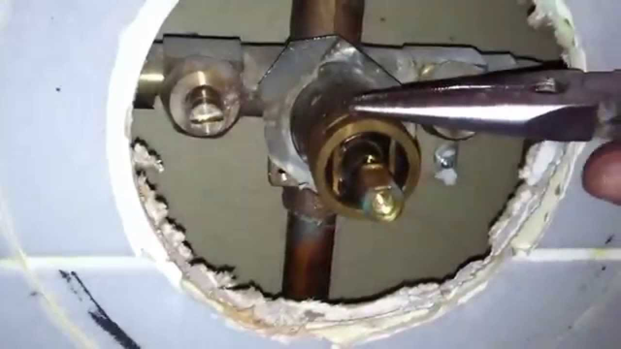 Moen 1225 cartridge replacement on shower valve   YouTube. Installing A Moen Shower Faucet Video. Home Design Ideas