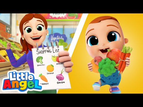 Let's Go To The Supermarket! | Fruits and Vegetables | Little Angel Kids Songs & Nursery Rhymes