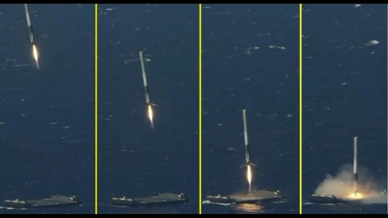 spacex rocket landing compilation go to space
