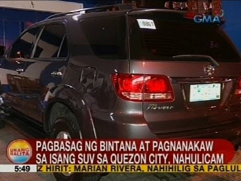 Pagbasag ng bintana at pagnakaw sa isang SUV sa Quezon City, nahulicam