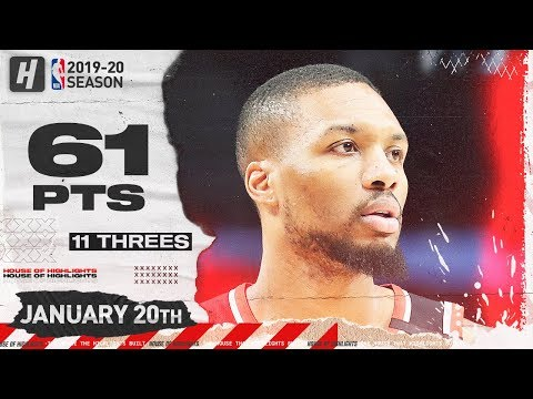 Damian Lillard 61 Points Full Highlights | Warriors vs Blazers | January 20, 2020