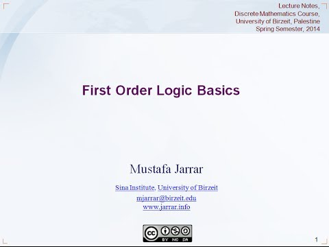 Jarrar: First Order Logic Basics (Part 1/4)
