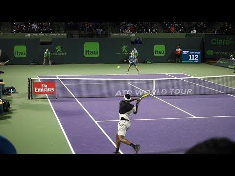 Frances Tiafoe v. Nicolás Kicker (Court Level View) 60FPS HD Miami Open 2018 R1