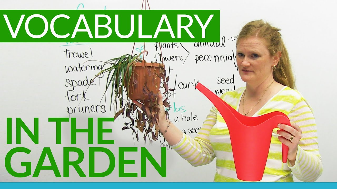 English vocabulary in the garden youtube for Gardening tools word search