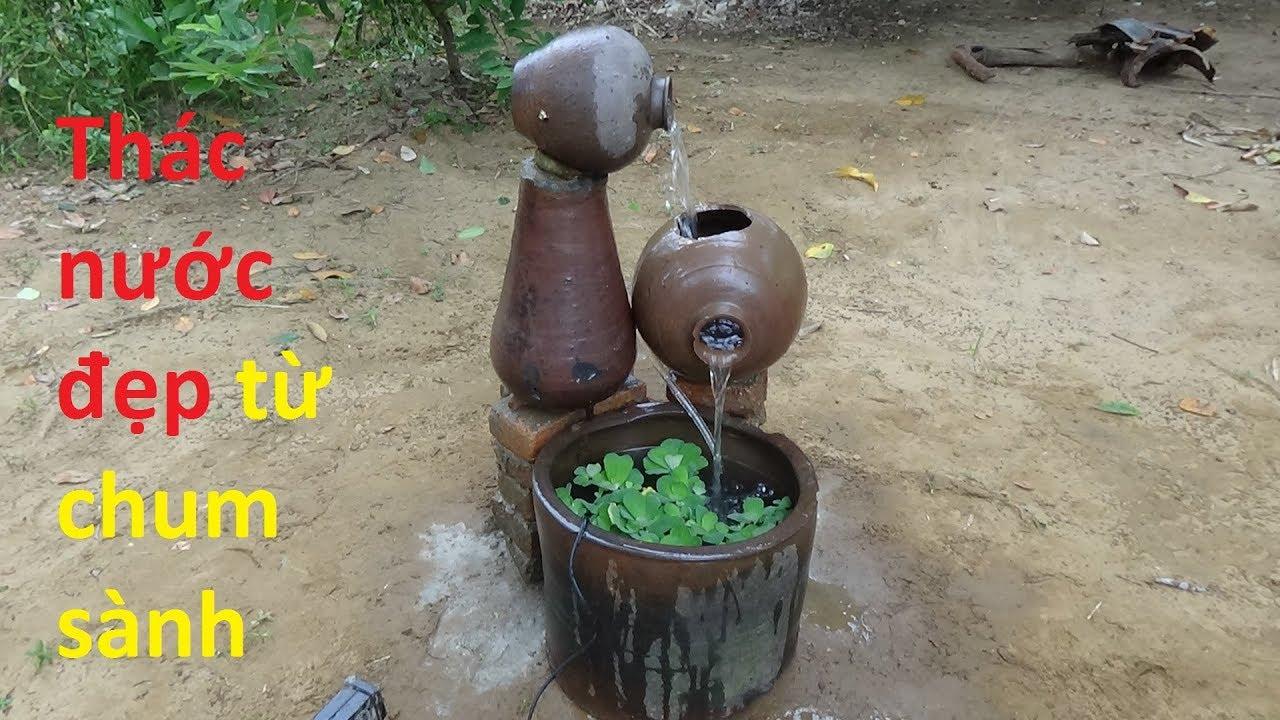 Cách làm thác nước từ chum sành có bể cá mini | simple waterfall ideas