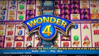 LIVE PLAY on Wonder 4 Slot Machine Buffalo with Bonuses and Big Win!!!