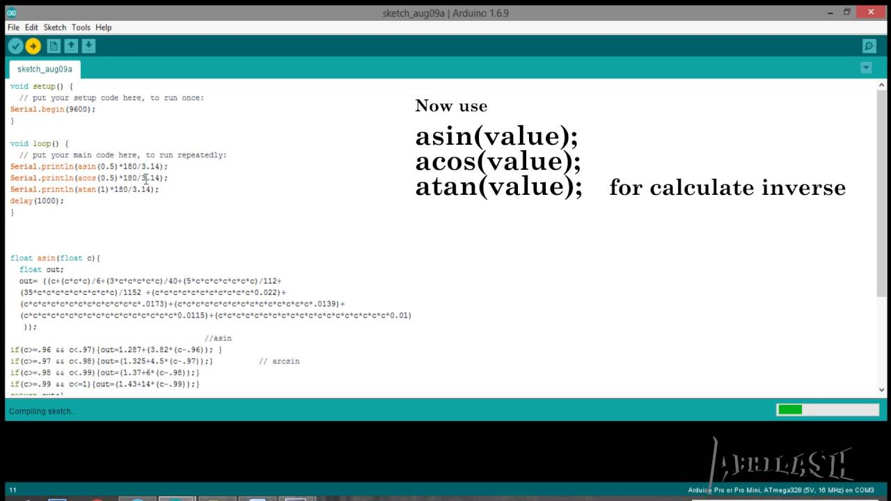 Arduino inverse trigonmetric function arcsin arccos