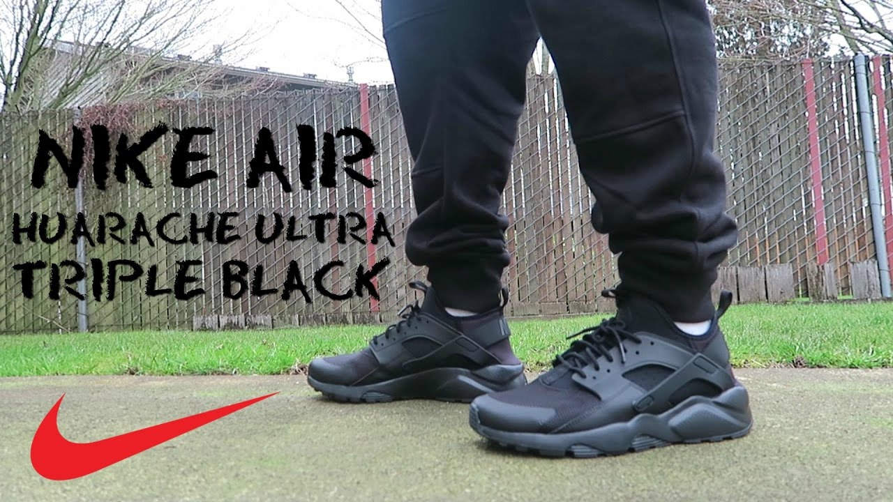 0f3e07b6f887 My new work shoes the Nike Air Huarache Ultra Triple Black - YouTube