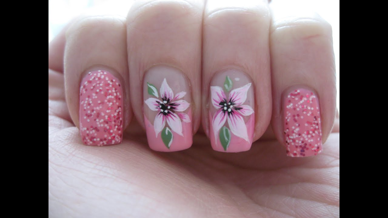 Nail Art Pink French With Beautiful Flower Youtube