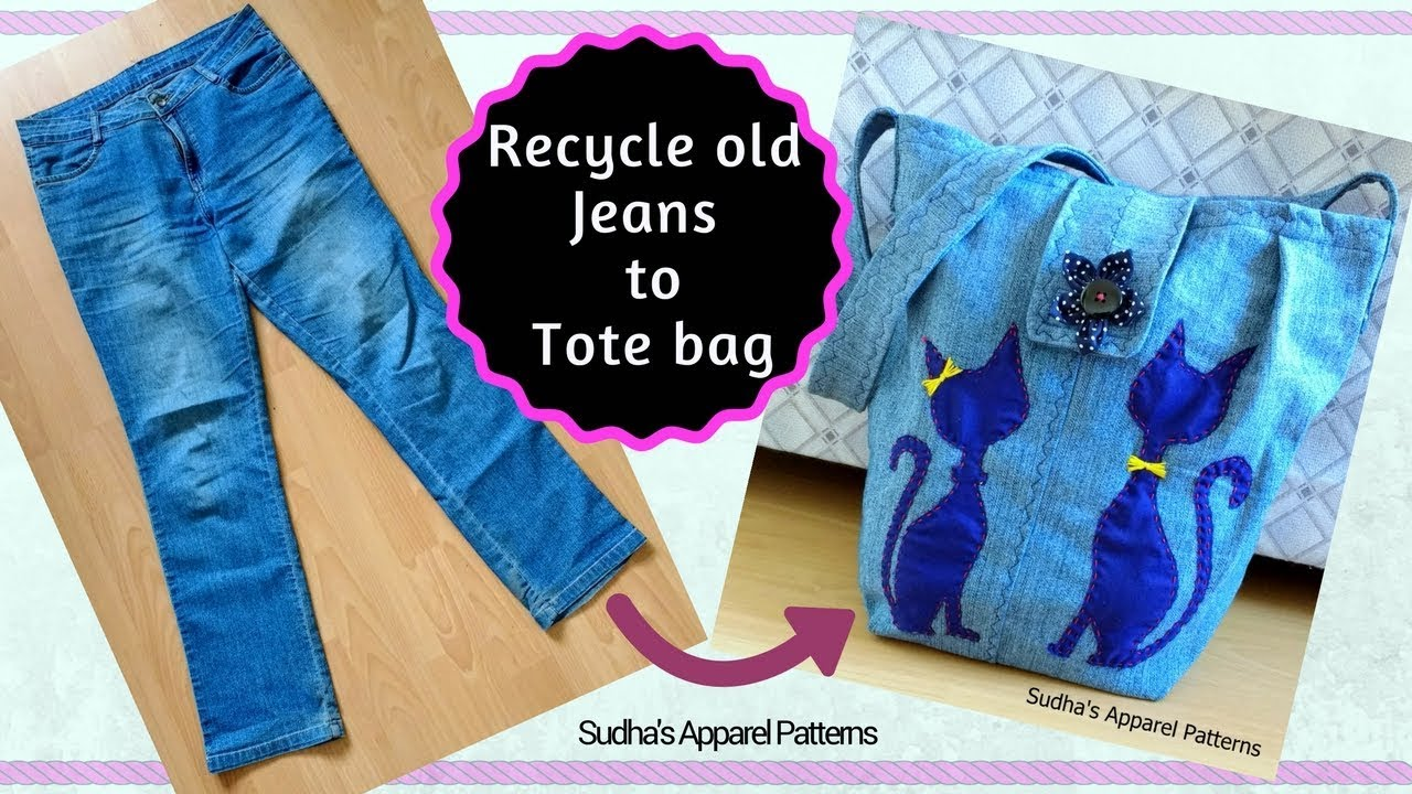 DIY Fashion Jeans Bag (recycled denim) How to make a Bag from Old Denim 9242b6a9e9bd6