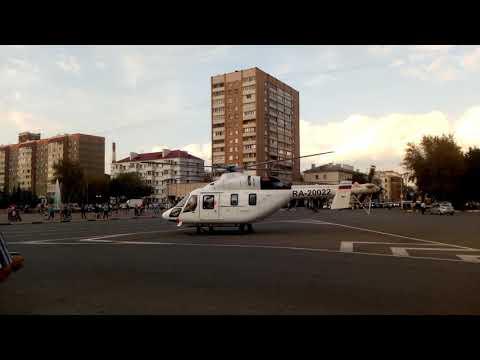 Взлёт вертолёта  в центре подольска