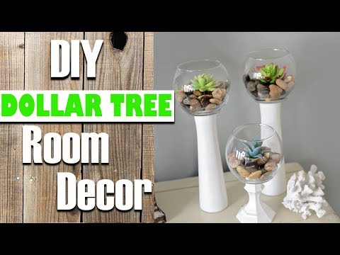 DIY Dollar Tree Room Decor - Candle holder Succulents