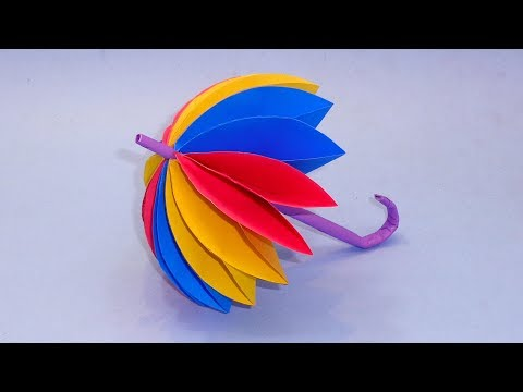How To Make Beautiful Umbrella With Color Paper | DIY Paper Decor For Kids