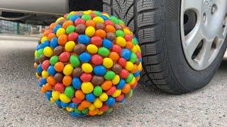Crushing Crunchy \u0026 Soft Things by Car!   EXPERIMENT CAR VS GIANT M\u0026M BALL