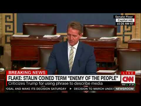 Jeff Flake Lambastes Trump for 'Assault' on the Press: 'Uses Words Infamously Spoken by' Stalin