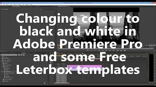 Changing Colour To Black And White In Adobe Premiere Pro | Free Leterbox Templates