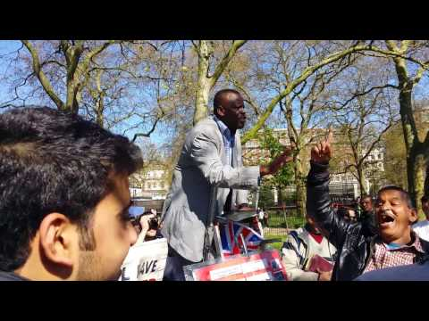 Egyptian Muslim Aggressive  - Speakers Corner Hyde Park London 9-4-17.