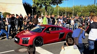 LOUD 2015 Audi R8 V10 Plus (w/ Capristo Exhaust) Drawing HUGE CROWDS at Cars & Coffee Dusseldorf!