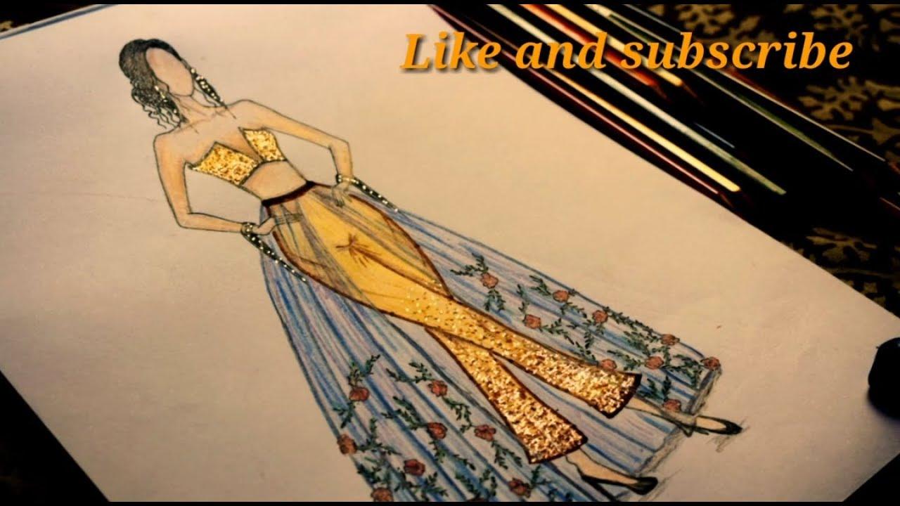How To Draw Fashion Dress Ii Simple Dress Drawing Youtube