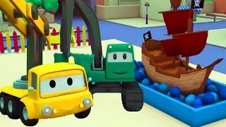 Строительная Бригада: Самосвал, Кран и Экскаватор строят Пиратская лодка в Автомобильном Городе