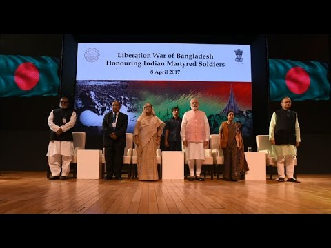 PM Narendra Modi with PM Sheikh Hasina at a program to salute Indian Soldiers who fought in 1971 war