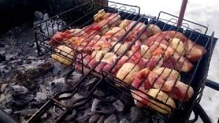 ASMR Звук жарящегося мяса с грибами на углях. 8 марта