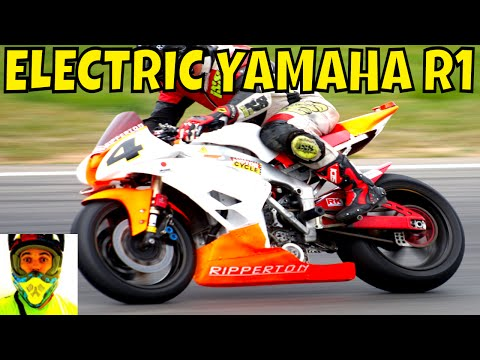 210kW Racing Electric Yamaha R1 vs Petrol Bikes (race track) • Ripperton DIY Electric Motorcycle