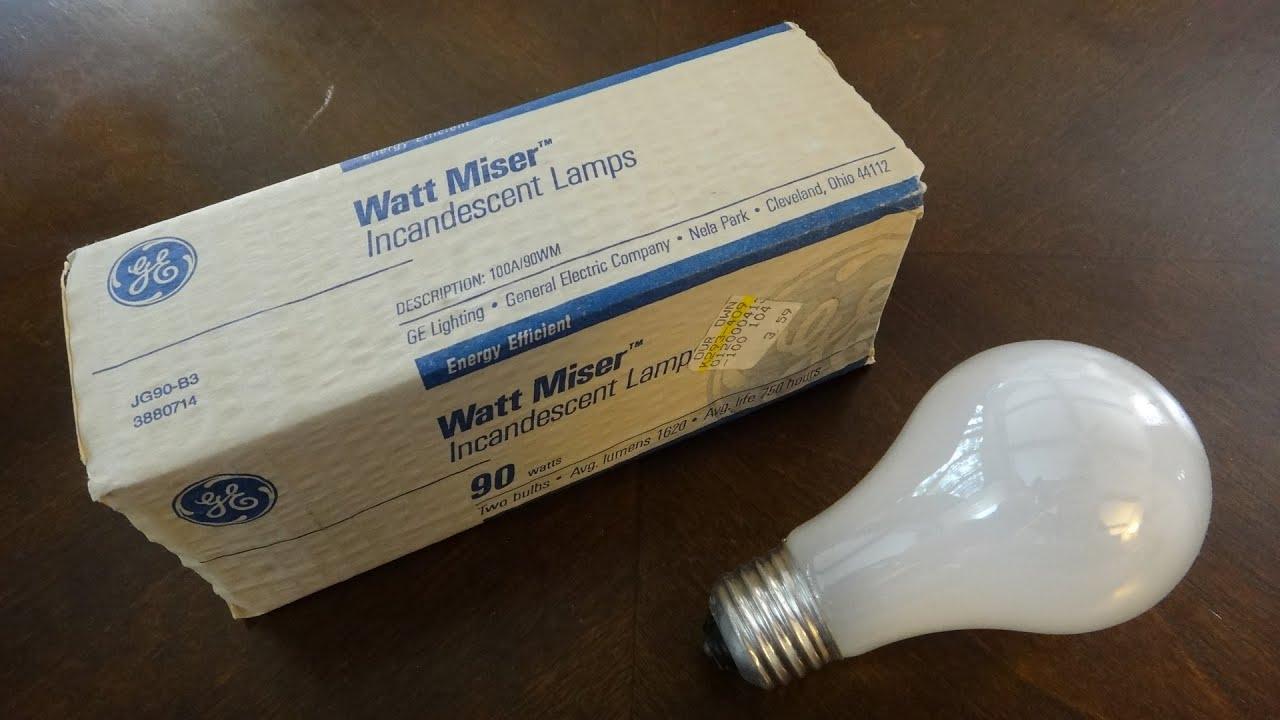 old ge 90watt wattmiser light bulbs youtube