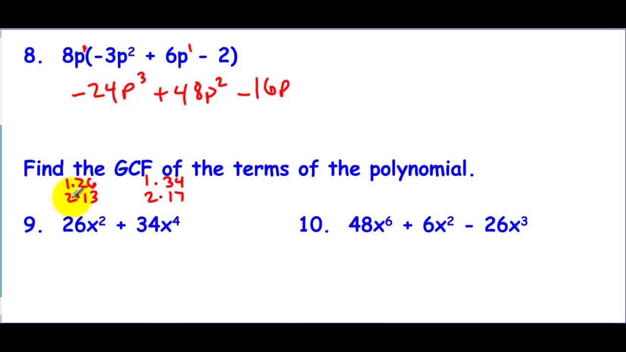 worksheet Basic Polynomial Operations 8 1 through 4 polynomial operations review walkthrough youtube walkthrough