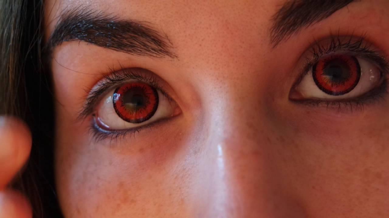 Vassen Dolly Plus Red Lenses On Brown Eyes Lensflavors
