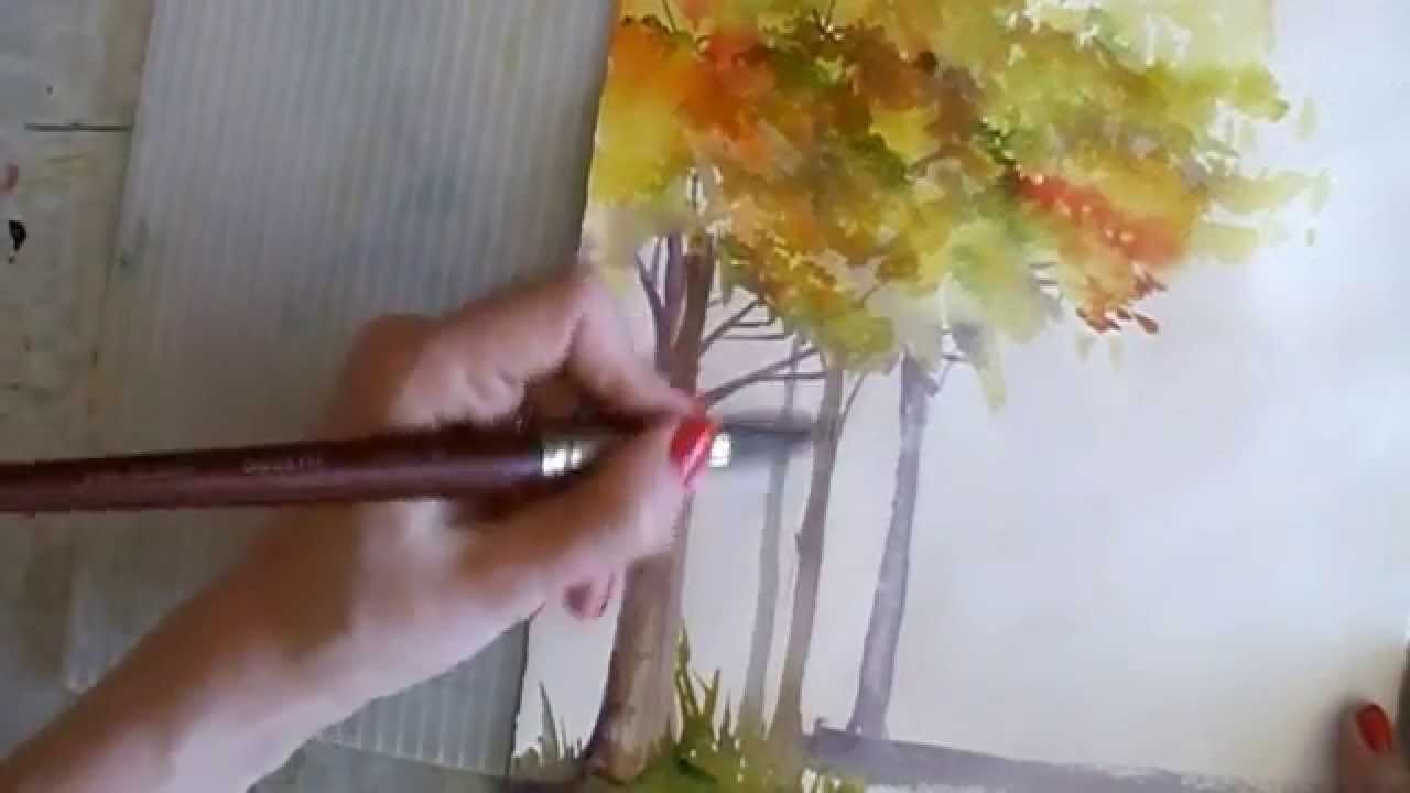 How to Paint in Watercolor Winter  Autumn Trees Tutorial  YouTube
