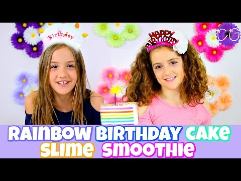 RAINBOW BIRTHDAY CAKE SLIME SMOOTHIE!  TWIN BIRTHDAY CELEBRATION!