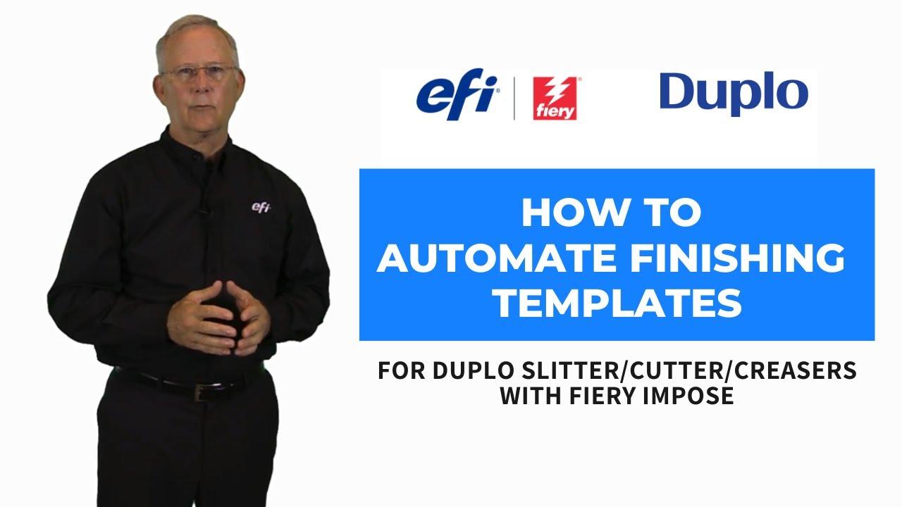 automate duplo finishing templates with efi fiery impose youtube