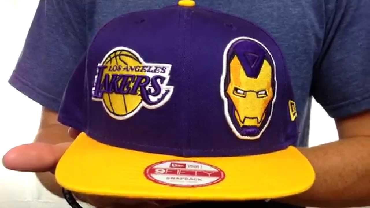 ab04888d1ba488 Lakers 'DOUBLE-WHAM IRON MAN SNAPBACK' Hat by New Era - YouTube