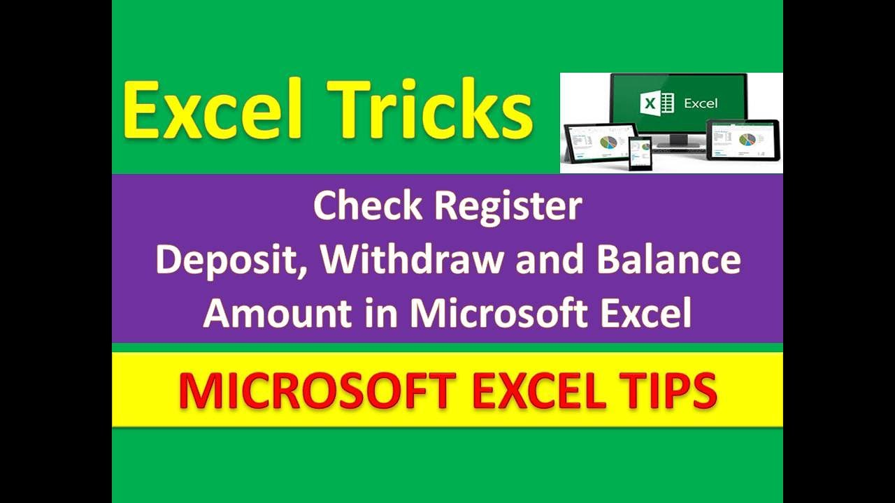 check register deposit withdraw and balance amount in microsoft