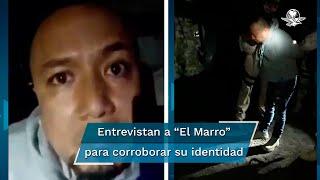 """Un video difundido por las autoridades estatales y federales, muestra la captura del líder del cártel de Santa Rosa de Lima, José Antonio Yépez Ortíz, """"El Marro""""; autoridades interrogan al detenido para corroborar su identidad"""