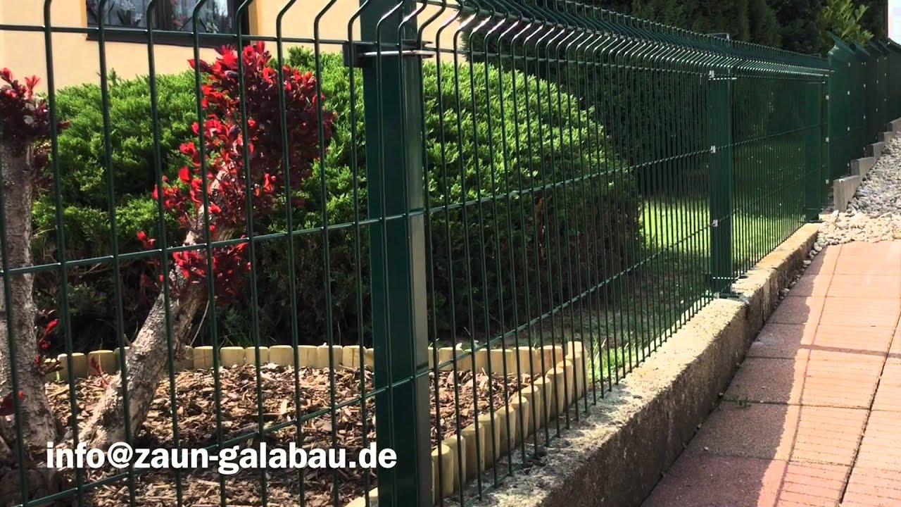 Zaunbau Galabau Stahlgitterzaun grün