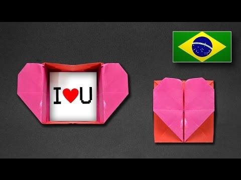 Origami: Caixa Envelope de Coração - Instruções em Português PT BR